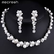 engagement jewelry sets mecresh simulated pearl bridal wedding jewelry sets silver color