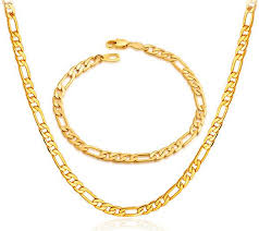 bracelet chain gold man images Buy 18k real gold plated never fade chunky figaro necklace jpg