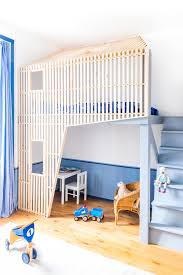 Blue Kids Room With Bunk Bed Design Hupehome - Kids room with bunk bed