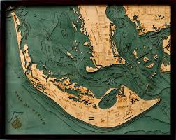 Map Of Pine Island Florida by Sanibel Island Bathymetric Wood Chart The Boat Wooden Walls And