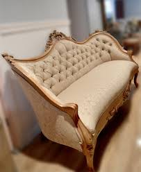 Wooden Carving Furniture Sofa Antique Victorian Beige Sofa Wood Carved In Rose