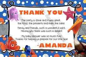 thank you card for baby shower novel concept designs finding nemo our fish baby