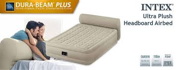 Air Mattress With Headboard Intex 18 Durabeam Ultra Plush Headboard Airbed Mattress