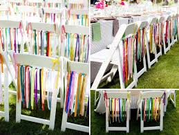 chair ribbons wedding chairs colorful rainbow ribbons