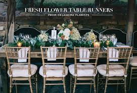 fresh flower table runners from oklahoma wedding florists