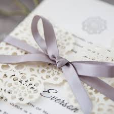 floral ribbon pearl white floral laser cut wedding invitations with grey