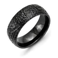black titanium mens wedding bands black titanium domed hammer finished wedding band
