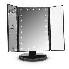 tri fold mirror with lights 21 led tri fold touch screen mirror with 2x 3x magnifying mirrors