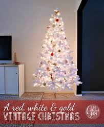 Christmas Tree With Gold Decorations A Red White And Gold Vintage Christmas The Tree The Gathered Home