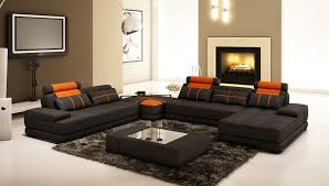 Black Corner Sofas Cruze Leather Corner Sofa With Right Hand Chaise In Black Orange