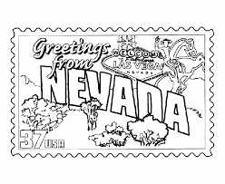usa printables nevada state stamp us states coloring pages