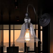 Glass Sconce Shade Replacement 1 Light Wall Sconce With Clear Glass Shade In Rustic Bronze Finish