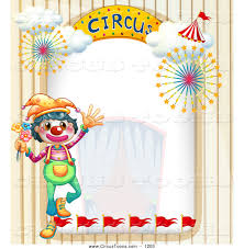 circus clipart of a clown and big top arch frame with curtains by