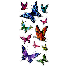 colorful butterflies temporary tattoos simulation