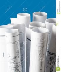 Architectural Blueprints For Sale Rolls Of Architecture Blueprints And House Plans Stock Photo