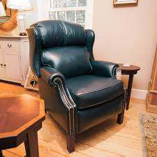 wingback recliner in navy leather saybrook country barn