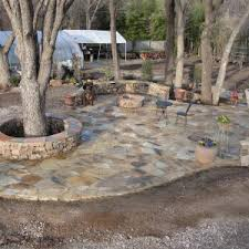 Roof For Patio Floor Rock Flagstone Patio With Round Stone Fire Pit And Wood