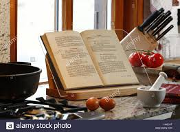 detail cuisine country house style cookbook holder stock photo