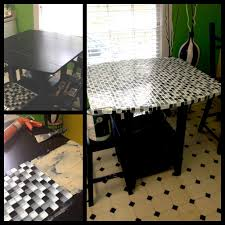 Small Glass Table by Refurbished An Old Run Down Kitchen Table With Small Glass Tile