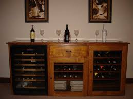 handmade quarter sawn white oak wine cabinet with refrigerator by