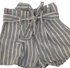 paper bag toddler shorts pattern frame white and blue stripe paperbag waist cotton mini short shorts