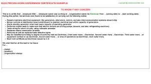 Sample Resume For Iti Electrician by Electrician Work Experience Certificate