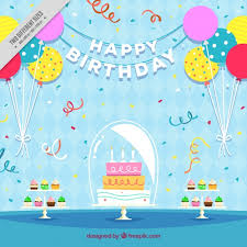 birthday cake background with balloons in flat design vector