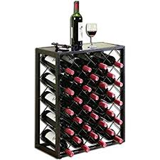 amazon com winsome vinny wine rack 24 bottle with glass hanger