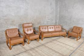 danish teak and leather living room set from juul kristensen for