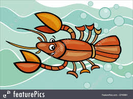 illustration of happy crayfish cartoon
