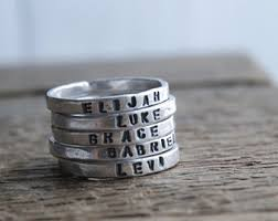 mothers day rings with names personalized stackable mothers ring 2mm silver gift for