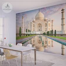 wall murals wall tapestries canvas wall art wall decor amazing view on the taj mahal during sunset india wall mural landmarks photo mural