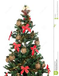 beautiful christmas tree with red ribbons and gold royalty free