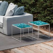Contract Outdoor Furniture Metal Table Glazed Ceramic Enameled Sandstone Contract
