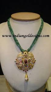 beaded pendant necklace designs images Gold and diamond jewellery designs emerald beads necklace with jpg