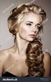 model long braided hair waves curls stock photo 346529744