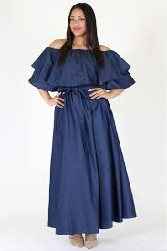 plus size stunning flounce neckline denim maxi dress u2013 plussizefix