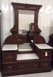 Eastlake Marble Top Bedroom Set Antique Victorian Walnut Carved 1880s Eastlake Renaissance Dresser