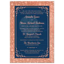 navy blue wedding invitations navy blue and copper look or gold floral wedding invitation