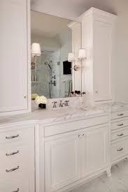 Custom Bathroom Vanities by Custom Master Bathroom With Double Corner Vanity Tower Cabinet