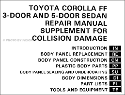 1985 1988 toyota corolla fx16 body collision manual original