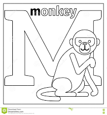 monkey letter m coloring page stock vector image 79426522