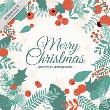 vintage merry christmas background with leaves vector free download