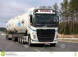 new volvo commercial new volvo fh tank truck on the road in winter editorial