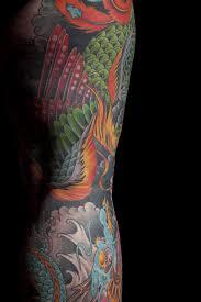 japanese phoenix dragon leg sleeve mark thompson tattoo