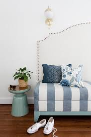 west elm martini table blue striped bench settee with silver nailhead trim transitional