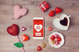 chocolates for s day online dating concept with smartphone mock up and heart chocolates