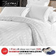 White Silk Bedding Sets 3pcs 100 Mulberry Silk Duvet Cover Oxford Pillowcases Jacquard