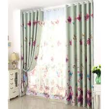 Blue Butterfly Curtains Blue Fish And Botanical Print Polyester Insulated Color Block
