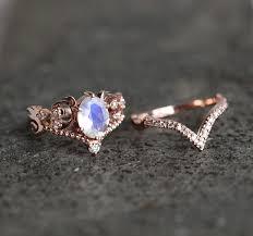 engagement ring set moonstone ring art deco engagement ring